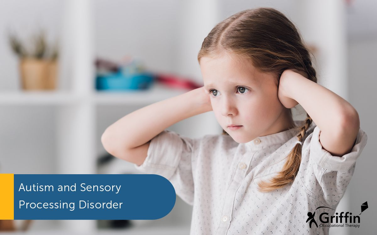 a girl with her hands over her ears and text ASD Sensory Processing Disorder