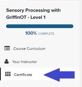 arrow pointing to where certificate is in training