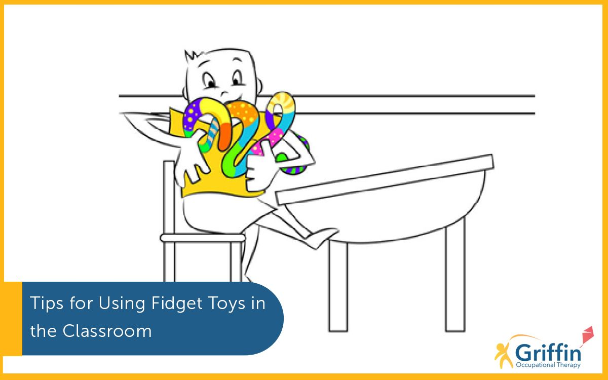 Cartoon of a child playing with Fidget Toys text saying tips for using fidget toys in the classroom