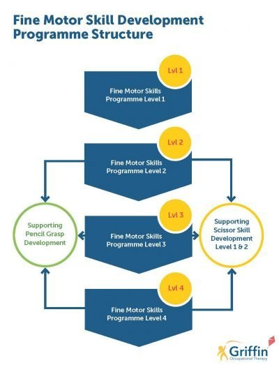 flowchart of the fine motor skills programme with each of the six stages