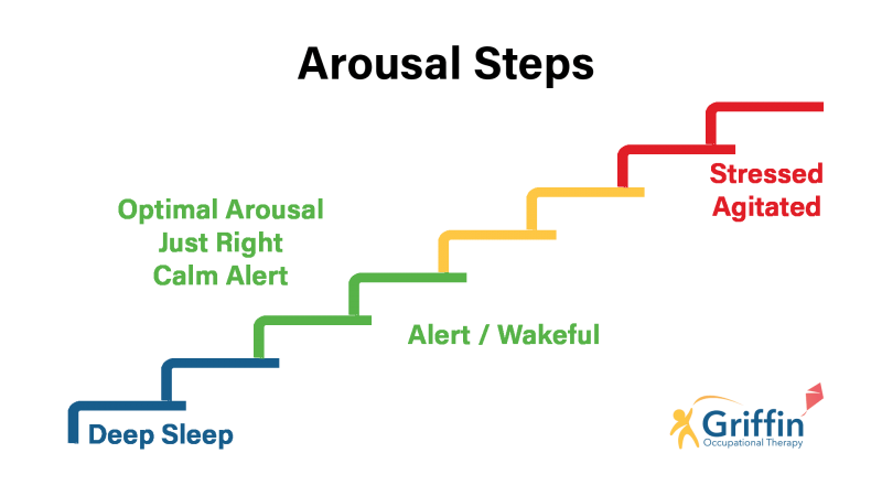 arousal steps changing from blue, green, yellow and red at the top, with deep sleep at the bottom and stressed at the top