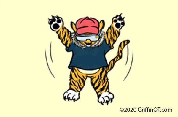 Cartoon tiger star jump
