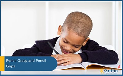 boy writing with text pencil grip