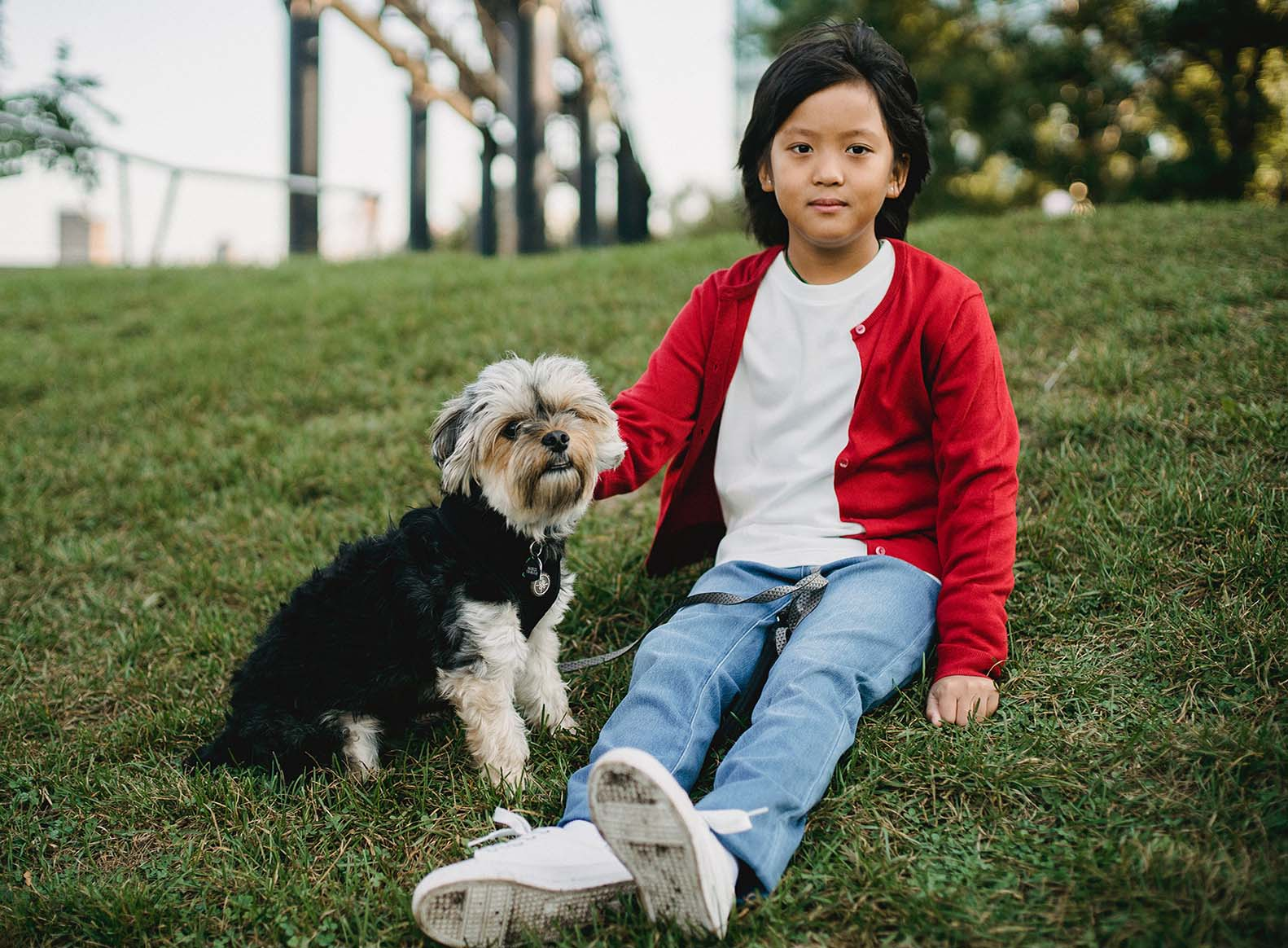 boy sitting with dog title helping introceptive awareness