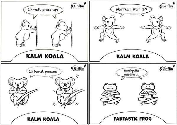Black and white koala and frog sensory diet cards