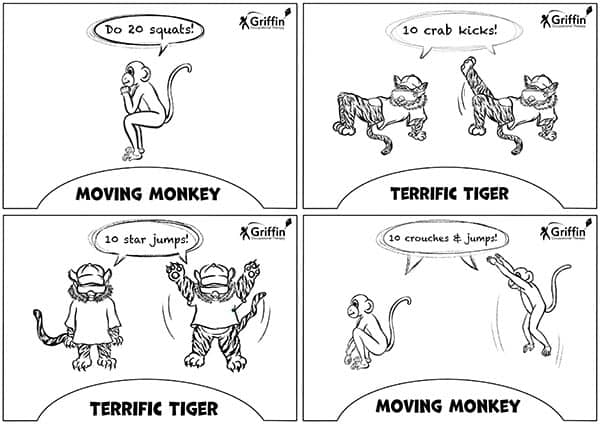 Black and white tiger and monkey sensory movement cards