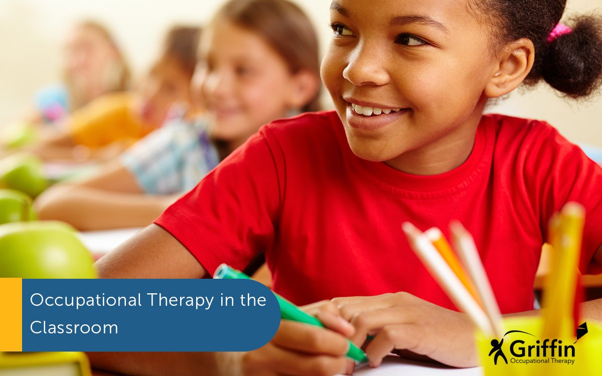 girl sitting and writing text occupational therapy in the classroom