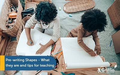 two children drawing text pre-writing shapes how to teach