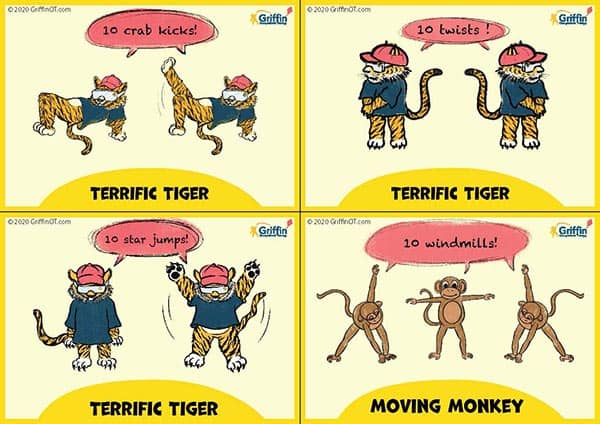 Coloured tiger and monkey sensory movement cards