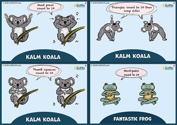 Coloured koala and frog sensory diet cards