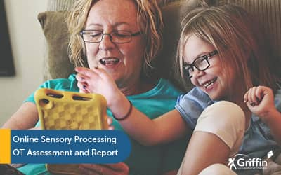 mother and child looking at ipad text online sensory processing assessment griffinot
