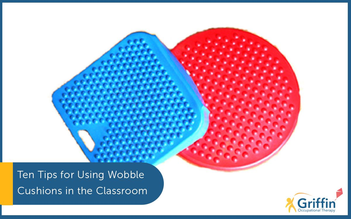 a move and sit and a circular wobble cushion text saying 10 tips for choosing wobble cushions