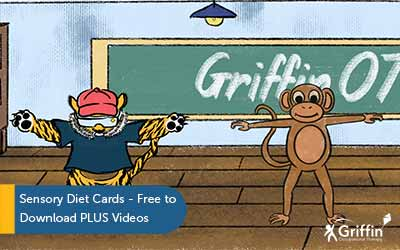 animated tiger and monkey standing with arms outstretched title sensory diet cards free