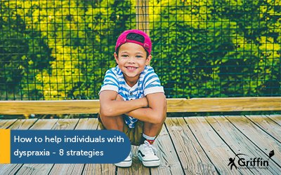 boy with cap on crouching down title how to help individuals with dyspraxia 8 strategies
