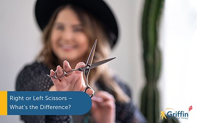 lady holding scissors text left handed scissors
