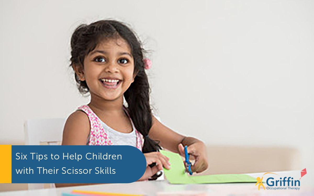 child cutting with scissors and text six tips to help with scissor skills