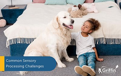 girl sitting with dog text sensory processing challenges