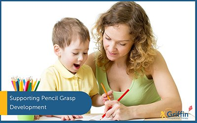 mother and son writing pencil grasp