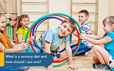 boy crawling through hoola hoop text what is a sensory diet